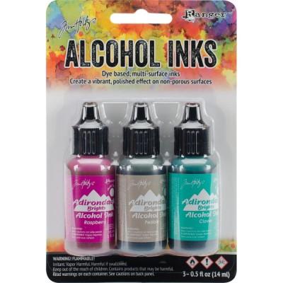 Tim Holtz - Ensemble «Alcohol Inks»  couleur «Raspberry / Pebble / Clover»