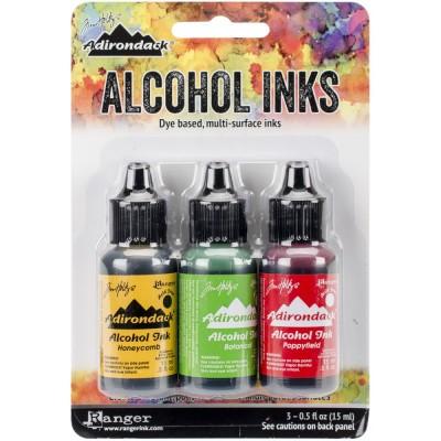 Tim Holtz - Ensemble «Alcohol Inks»  couleur «Honeycomb / Botanical / Poppyfield»