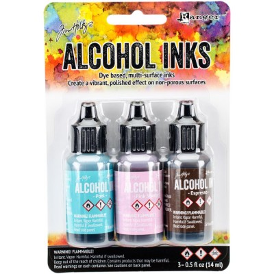 Tim Holtz - Ensemble «Alcohol Inks»  couleur Pool / Pink Sherbert / Espresso