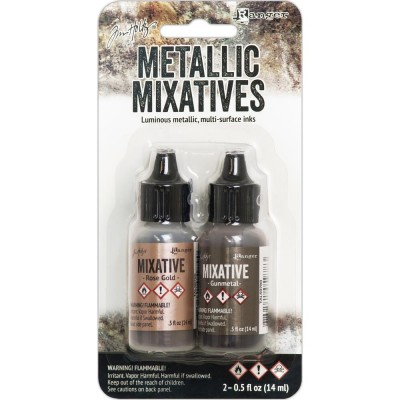 Ranger  - Ensemble «Rose Gold et Gunmetal » Tim Holtz Alcohol Ink Metallic Mixatives .5oz 2/Pkg