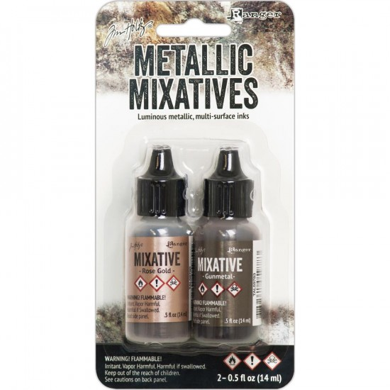 Ranger  - Ensemble «Rose Gold et Gunmetal » Tim Holtz Alcohol Ink Metallic Mixatives .5oz 2/Pkg