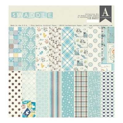 "Authentique - Bloc de papier 12"" X 12"" double face «Swaddle Boy» 16 feuilles"
