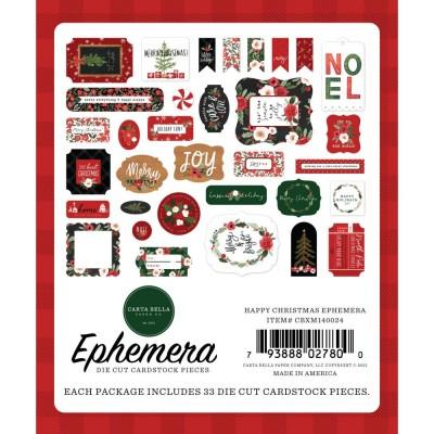 Carta Bella - Éphéméra «Happy Christmas Icons» ensemble 33 pcs