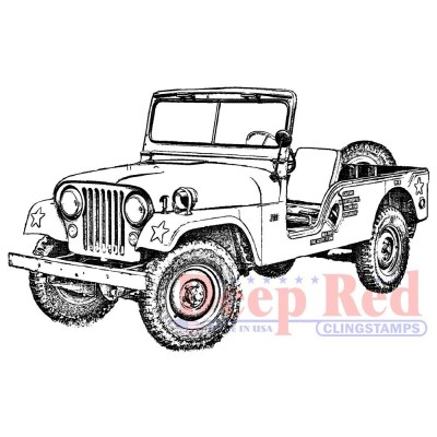 "Deep Red - Estampe «Vintage Military Jeep» 3.2"" X 2.3"""