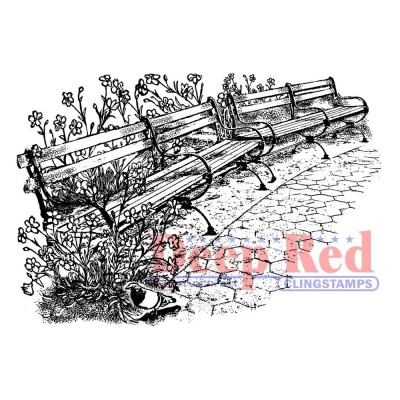 """Deep Red - Estampe «Park Benches» 3"""" X 2"""""""