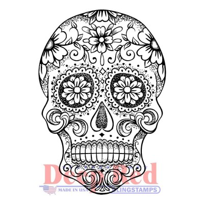 "Deep Red - Estampe «Sugar Skull» 2"" X 3"""