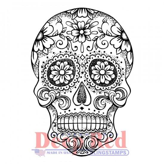 "Deep Red - Estampe «Sugar Skull» 2"" X 3"""