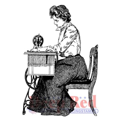 "Deep Red - Estampe «Victorian Seamstress» 2"" X 3"""