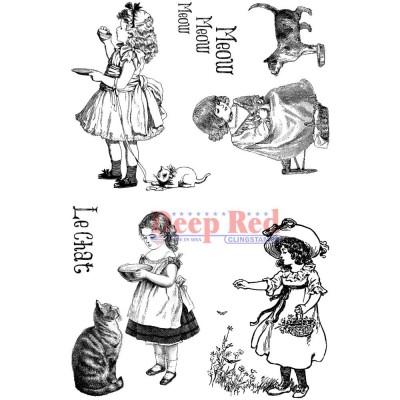 "Deep Red - Estampe «Victorian Girls With Kittens» 4"" X 6"""