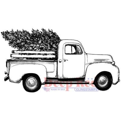 "Deep Red - Estampes «Christmas Tree Pickup» 4"" X 2.2"""