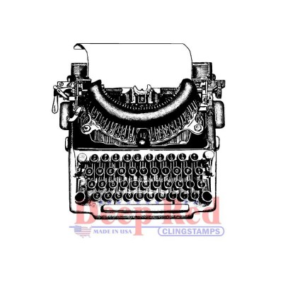 "Deep Red - Estampe «Manual Typewriter» 2"" X 2"""