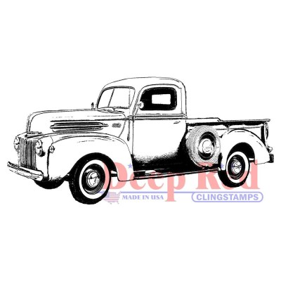 "Deep Red - Estampe «Classic Pickup Truck» 3.1"" X 1.2"""