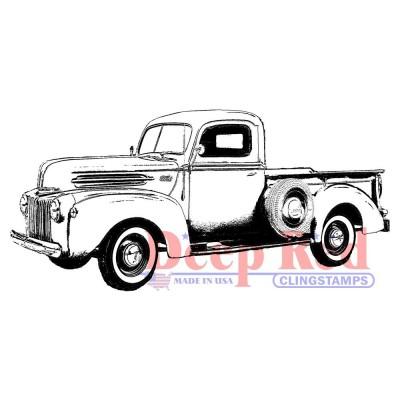 "Deep Red - Estampe «Classic Pickup Truck» 3.1"" X 1.2"""