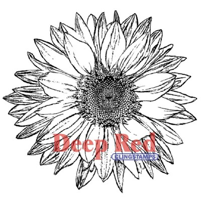 "Deep Red - Estampe «Large Sunflower» 3.25"" X 3.25"""