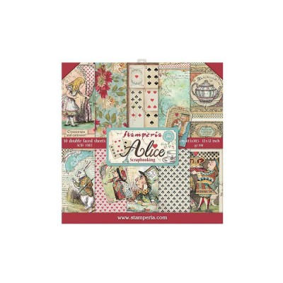"Stamperia  -  Papier 12"" X 12"" «Alice» 10 feuilles double- face"