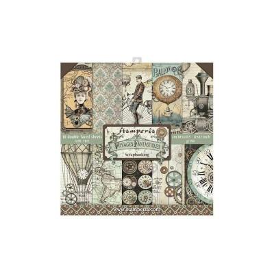 """Stamperia  -  Papier 12"""" X 12"""" «Voyages Fantastiques», 10 feuilles double- face"""