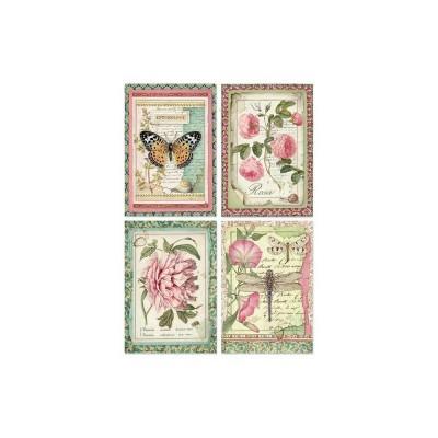Stamperia - Papier de riz «Botanic Flower Cards»