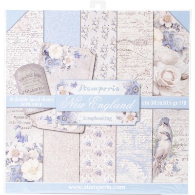 "Stamperia - Papier 12"" X 12"" «New England», 10 feuilles double- face"