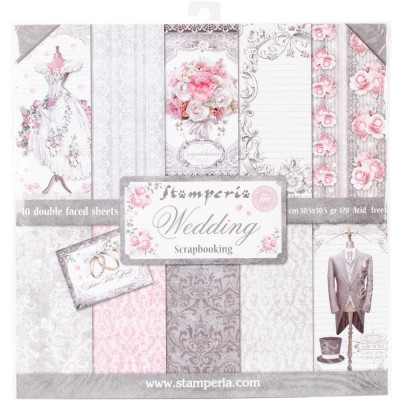 "Stamperia  -  Papier 12"" X 12"" «Wedding», 10 feuilles double- face"