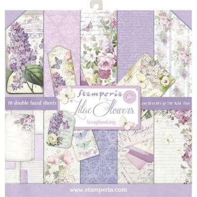 "Stamperia  -  Papier 12"" X 12"" ""Lilac flowers"", 10 feuilles double- face"