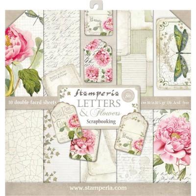 "Stamperia  -  Papier 12"" X 12"" «Letters & Flowers», 10 feuilles double- face"