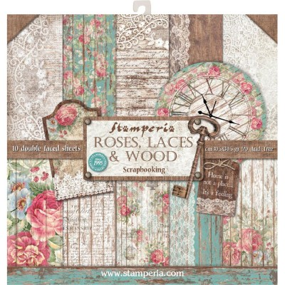 "Stamperia  -  Papier 12"" X 12"" «Roses, Lace & Wood», 10 feuilles double- face"