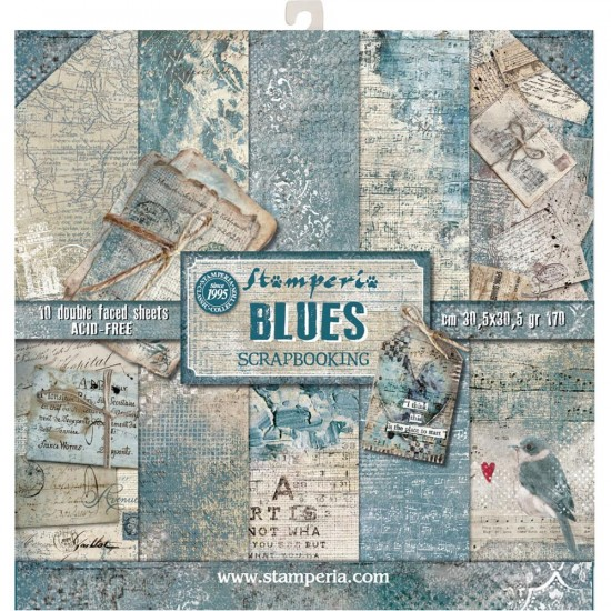 "Stamperia - Papier 12"" X 12"" «Blues», 10 feuilles double- face"