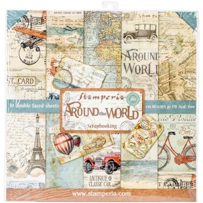 """Stamperia  -  Papier 12"""" X 12"""" «Around the world», 10 feuilles double- face"""