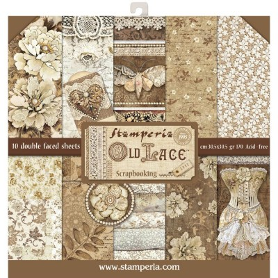 "Stamperia  -  Papier 12"" X 12"" «Old Lace», 10 feuilles double- face"