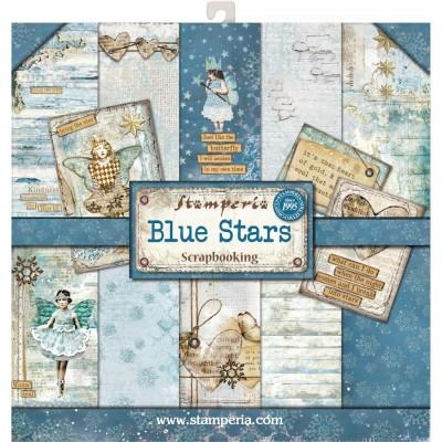 "Stamperia  -  Papier 12"" X 12"" «Blue Stars» 10 feuilles double- face"
