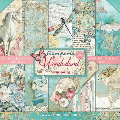 "Stamperia  -  Papier 12"" X 12"" «Wonderland», 10 feuilles double- face"