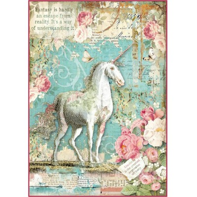 Stamperia - Papier de riz «Wonderland Unicorn»