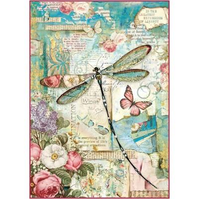 Stamperia - Papier de riz «Wonderland Dragonfly»