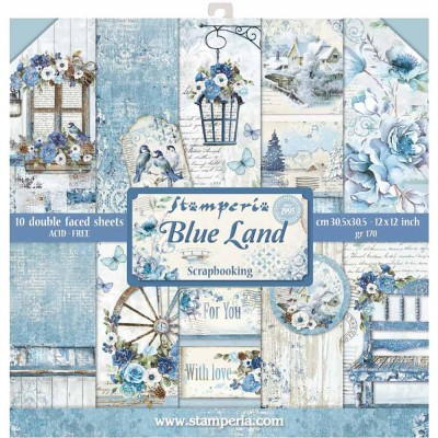 "Stamperia  -  Papier 12"" X 12"" «Blue Land», 10 feuilles double- face"