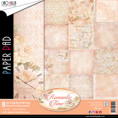 "Ciao Bella - Collection de papier 12"" X 12"" recto-verso 8 feuilles «Romantic Time »"