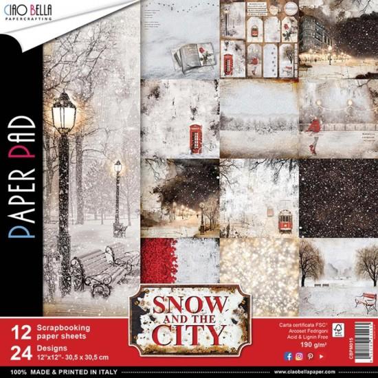 """Ciao Bella - Collection de papier «Snow & The City»  12"""" X 12"""" recto-verso 12 feuilles"""