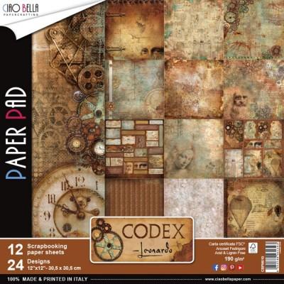 """Ciao Bella - Collection de papier «Codex Leonardo»  12"""" X 12"""" recto-verso 12 feuilles"""