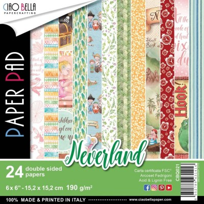 "Ciao Bella - Collection de papier «Neverland»  6"" X 6"" recto-verso 24 feuilles"