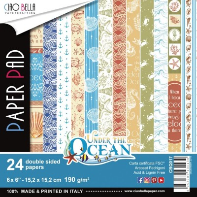 "Ciao Bella - Collection de papier «Under The Ocean»  6"" X 6"" recto-verso 24 feuilles"