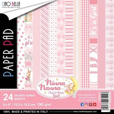 """Ciao Bella - Collection de papier «Ninna Nanna Girl»  6"""" X 6"""" recto-verso 24 feuilles"""