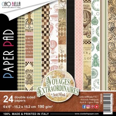 "Ciao Bella - Collection de papier «Voyages Extraordinaires»  6"" X 6"" recto-verso 24 feuilles"