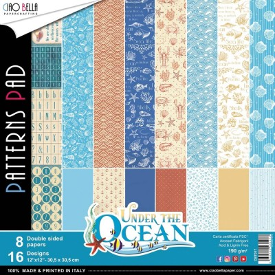 "Ciao Bella - Collection de papier «Under The Ocean»  12"" X 12"" recto-verso 8 feuilles"