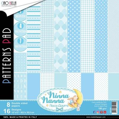 """Ciao Bella - Collection de papier «Ninna Nanna Boy»  12"""" X 12"""" recto-verso 8 feuilles"""