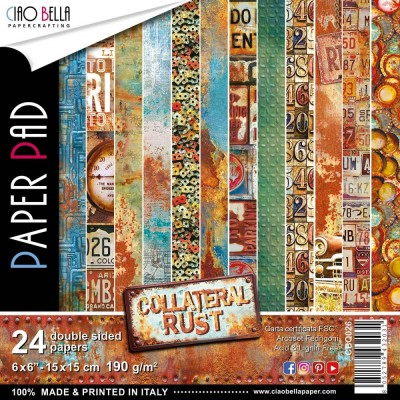 "Ciao Bella - Collection de papier «Collateral Rust»  6"" X 6"" recto-verso 24 feuilles"