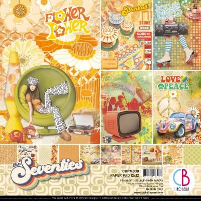 """Ciao Bella - Collection de papier 12"""" X 12""""  «The Seventies» 12 feuilles recto-verso"""