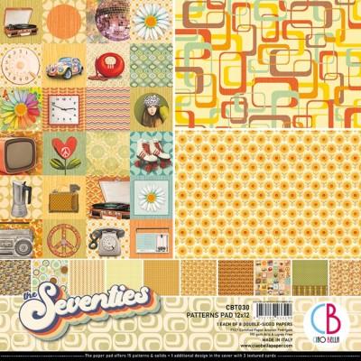 """Ciao Bella - Collection de papier 12"""" X 12"""" recto-verso 8 feuilles «The Seventies»"""