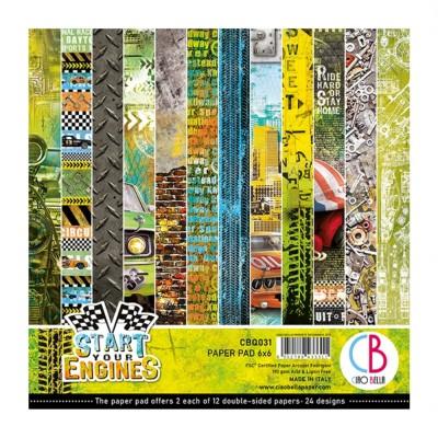 "Ciao Bella - Collection de papier «Start Your Engines»  6"" X 6"" recto-verso 24 feuilles"