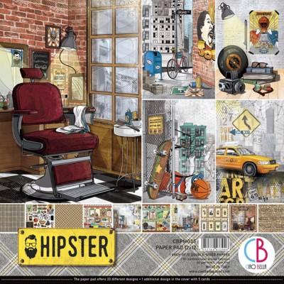 """Ciao Bella - Collection de papier 12"""" X 12""""  «Hipster» 12 feuilles recto-verso"""