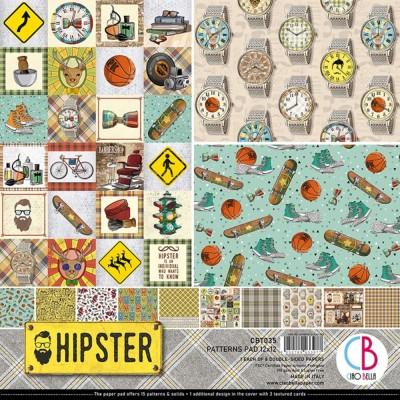 """Ciao Bella - Collection de papier 12"""" X 12"""" recto-verso 8 feuilles «Hipster»"""