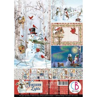 """Ciao Bella - Collection de papier 8.3"""" x 11.7""""  «Northern Lights» 9 feuilles recto-verso"""